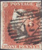 1852 1d Red SG12 Plate 138 'HK'(1)